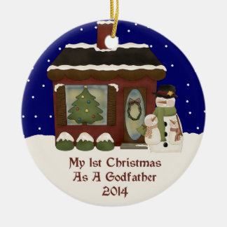 2014 My 1st Christmas As A Godfather Round Ceramic Decoration