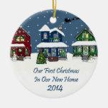 2014 New Home Christmas Snowy Houses Christmas Ornaments