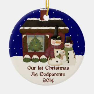 2014 Our 1st Christmas As Godparents Round Ceramic Decoration