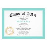 2014 Teal Blue Diploma Graduation Party Personalised Invitations