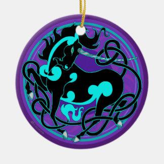 2014 Unicorn Ceramic Ornament - Black/Turquoise