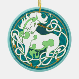 2014 Unicorn Ceramic Ornament - Green/White