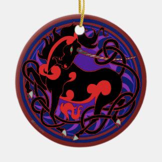 2014 Unicorn Ceramic Ornament- Red/Black Christmas Ornament