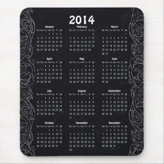 2014 Vintage Chalkboard Year At A Glance Calendar Mousepad