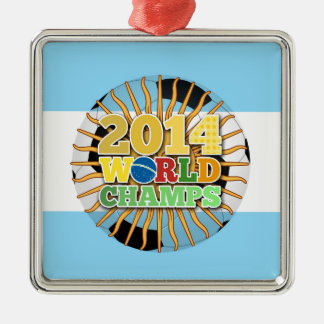 2014 World Champs Ball - Argentina Silver-Colored Square Decoration
