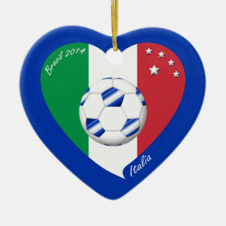 2014 world-wide SOCCER of ITALY flag and blue ball Ceramic Heart Decoration