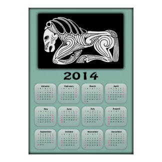 2014 Year of Horse calendar with Scythian horse Poster