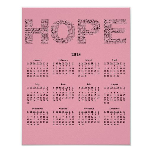 2015: A Year of Hope Wall Calendar Posters