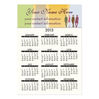 2015 Business Card Calendar Retro Girls