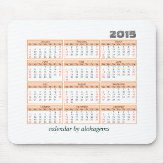 2015 Calendar Mouse pad Simple Orange Tangerine