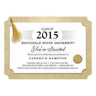 2015 Diploma Graduation Gold Border & Gold Tassel 5x7 Paper Invitation Card