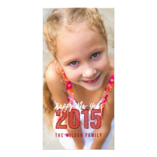 2015 Glitter | Happy New Year Holiday Photo Card