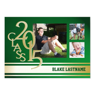 2015 Gold Green Varsity Stripe Graduate Cards