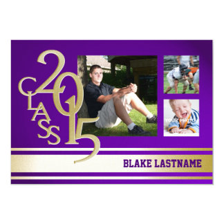 2015 Gold Purple Varsity Stripe Graduate Tri Photo Cards