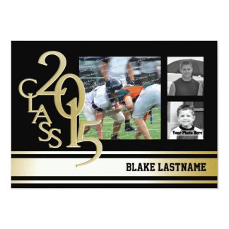 2015 Gold Varsity Stripe Graduate Tri Photo Black Card