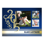 2015 Gold Varsity Stripe Graduate Tri Photo Blue 13 Cm X 18 Cm Invitation Card