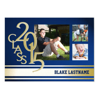 2015 Gold Varsity Stripe Graduate Tri Photo Blue Cards