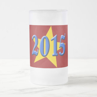 2015 in Blue Font with Gold Star 16 Oz Frosted Glass Beer Mug