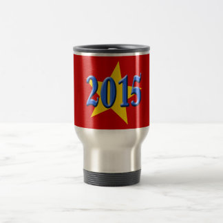 2015 in Blue Font with Gold Star 15 Oz Stainless Steel Travel Mug
