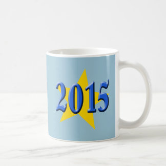 2015 in Blue Font with Gold Star Classic White Coffee Mug