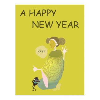 "2015 New Year's greeting card ""mask girls and blac"