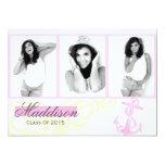 2015 Pink Anchor Photo Graduation Announcement 13 Cm X 18 Cm Invitation Card