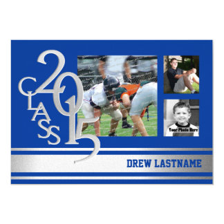 2015 Silver Blue Varsity Stripe Graduate Tri Photo Cards