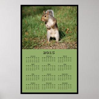 2015 Standing Squirrel Calendar Poster