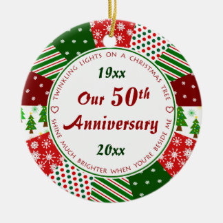 2016 50th or Any Year Anniversary Gift Round Ceramic Decoration
