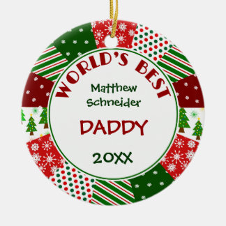 2016 BEST DADDY or Any Name Round Ceramic Decoration
