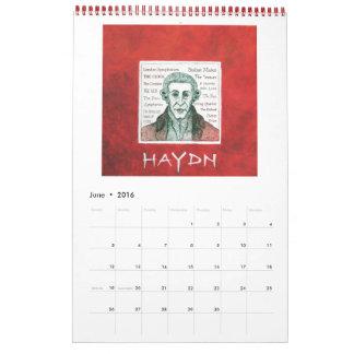 2016 Calendar - Classical Piano Composers