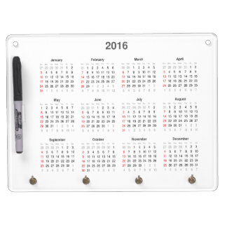 2016 Calendar Gifts Dry Erase Board With Key Ring Holder