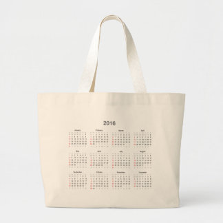 2016 Calendar Gifts Jumbo Tote Bag