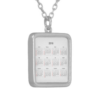 2016 Calendar Gifts Square Pendant Necklace