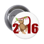 2016 Chinese Monkey on Tree with Longevity Fruits 6 Cm Round Badge
