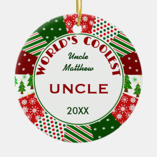 2016 COOLEST UNCLE or Any Name Round Ceramic Decoration