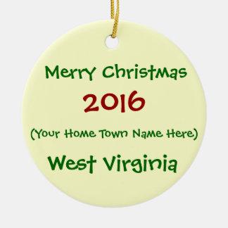 2016 CUSTOMIZABLE WEST VIRGINIA CHRISTMAS ORNAMENT