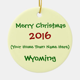 2016 CUSTOMIZABLE WYOMING MERRY CHRISTMAS ORNAMENT