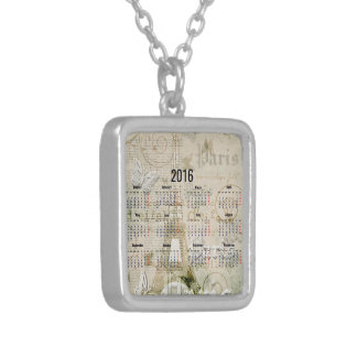 2016 Eiffel Tower Paris New Year Gifts Square Pendant Necklace
