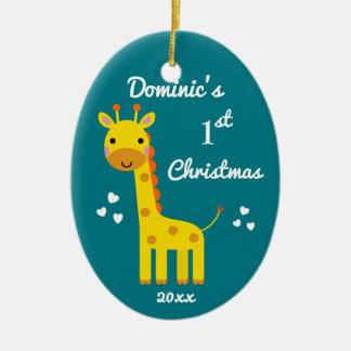 2016 Fun Giraffe Baby's 1st First Christmas Gift B Ceramic Oval Decoration