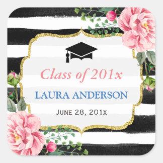 2016 Graduation Floral Black White Stripe Square Sticker