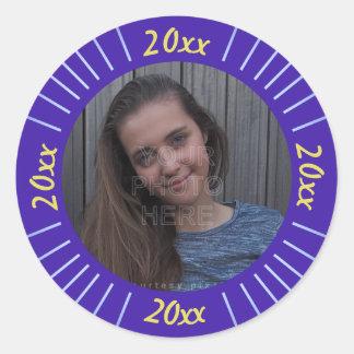 2016 Graduation Party Photo Cute Purple Stripes Round Sticker