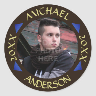 2016 Graduation Party Photo Personalized Modern Round Sticker