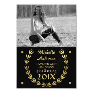 2016 Graduation Photo Gold Laurel Wreath Black Magnetic Invitations