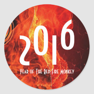2016 Happy Chinese New Year of The Red Fire Monkey Classic Round Sticker