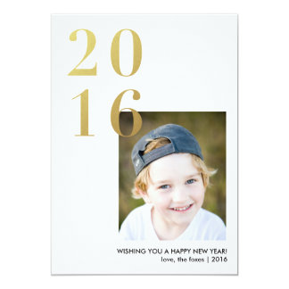 2016 Happy New Year Gold Holiday Photo Card 13 Cm X 18 Cm Invitation Card