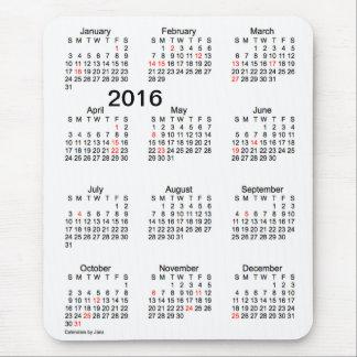 2016 Large Print Calendar with Holidays Mousepad