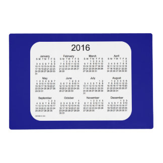 2016 Navy Blue Laminated Calendar by Janz Laminated Placemat