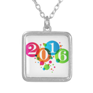 2016 New Years Bubbles and Stars Square Pendant Necklace