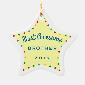 2016 Star Most Awesome Brother Christmas Gift Ceramic Star Decoration